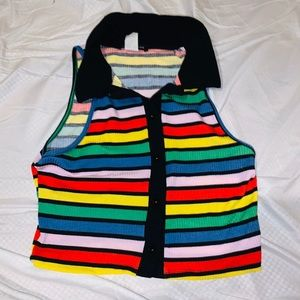 One by One Rainbow Collared Crop Top